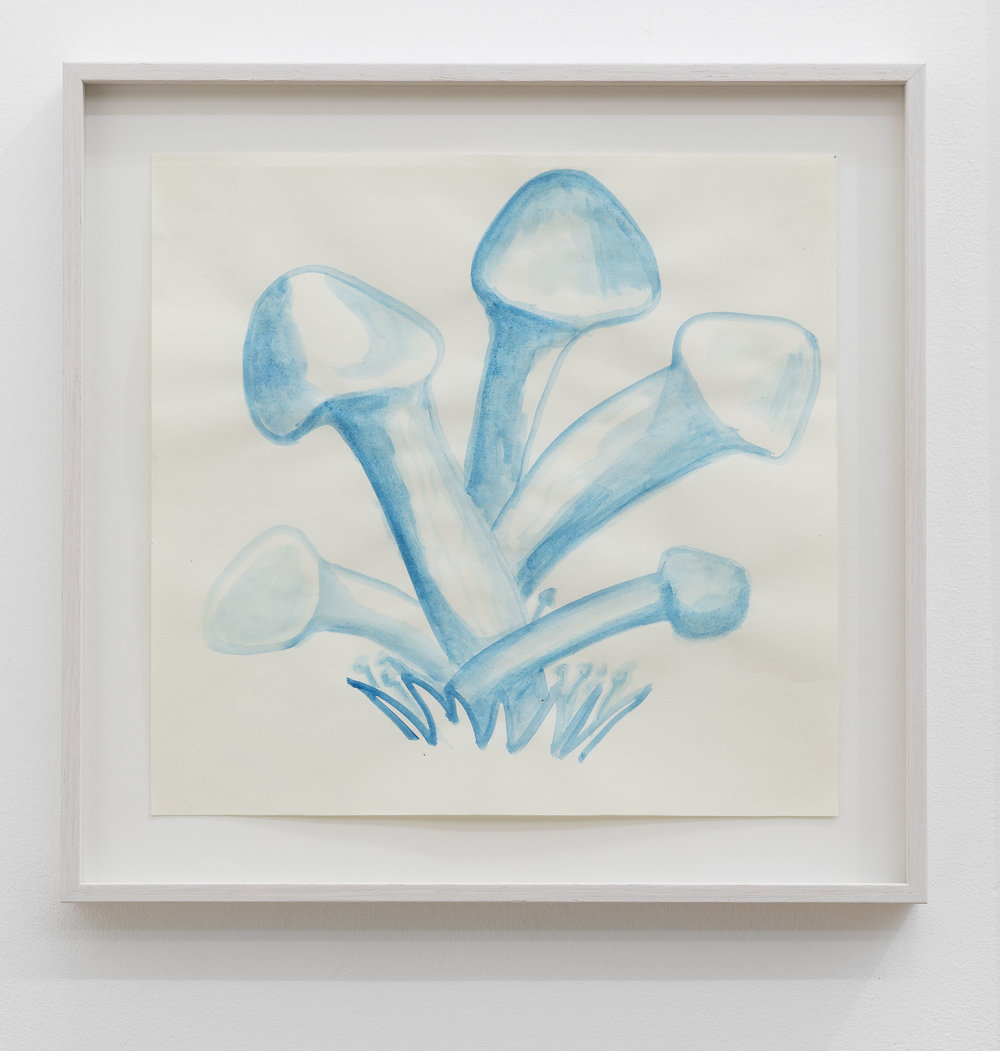 Anna McCarthy, Moon (Penis) Mushrooms, 2018, gouache on paper, 28 x 29 cm