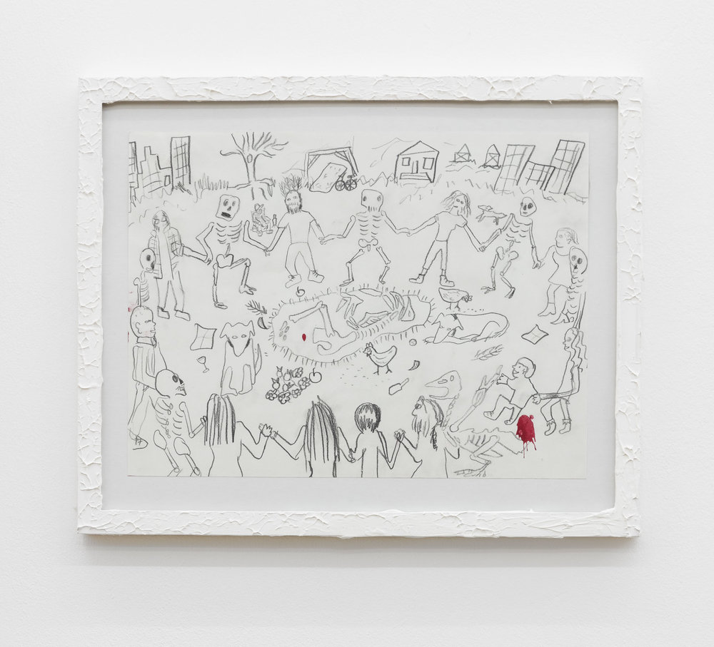 Anna McCarthy, Thanksgiving Detroit, 2017, pencil on paper in artists frame, 30 x 37.5 cm