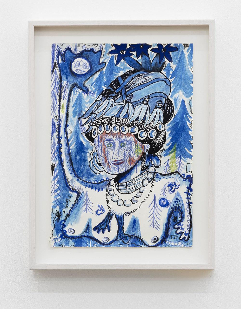 Anna McCarthy, Königin der Nacht, 2018, crayon, gouache, indian ink on paper, 29.5 x 21.7 cm