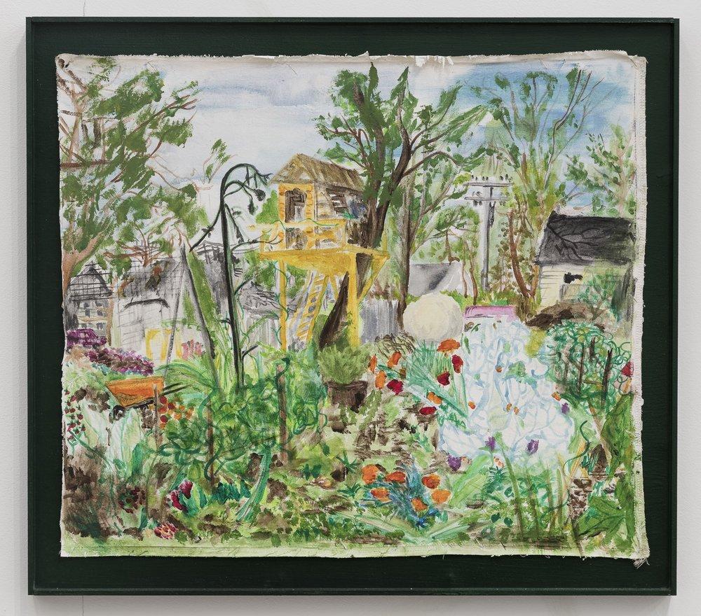 Anna McCarthy, Dean's Arm + Garden Detroit, 2017, Acryl on fabric in artists frame, 57 x 64 cm