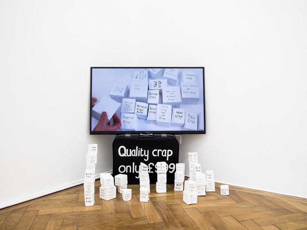 David Sherry, Quality Crap & Total Crap, painred boxes, various sizes, installation view, 2018