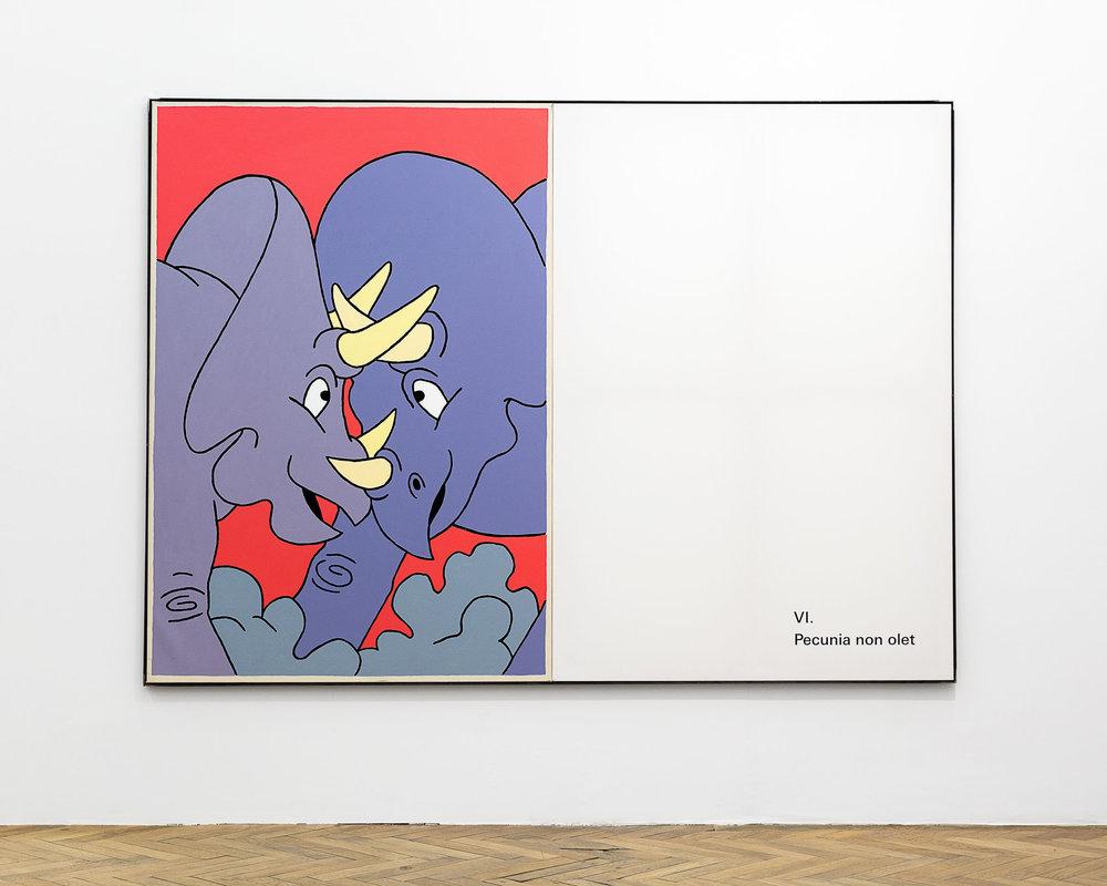 ART N MORE, Quis, quid, ubi, quibus auxilis, cur, quomodo, quando, 2018, oil and transfer print on canvas in artist frame