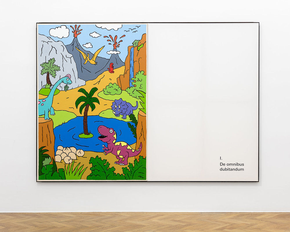 ART N MORE, De omnibus dubitandum (An allem ist zu zweifeln), 2018, oil and transfer print on canvas in artists frame, 200 x 280 cm