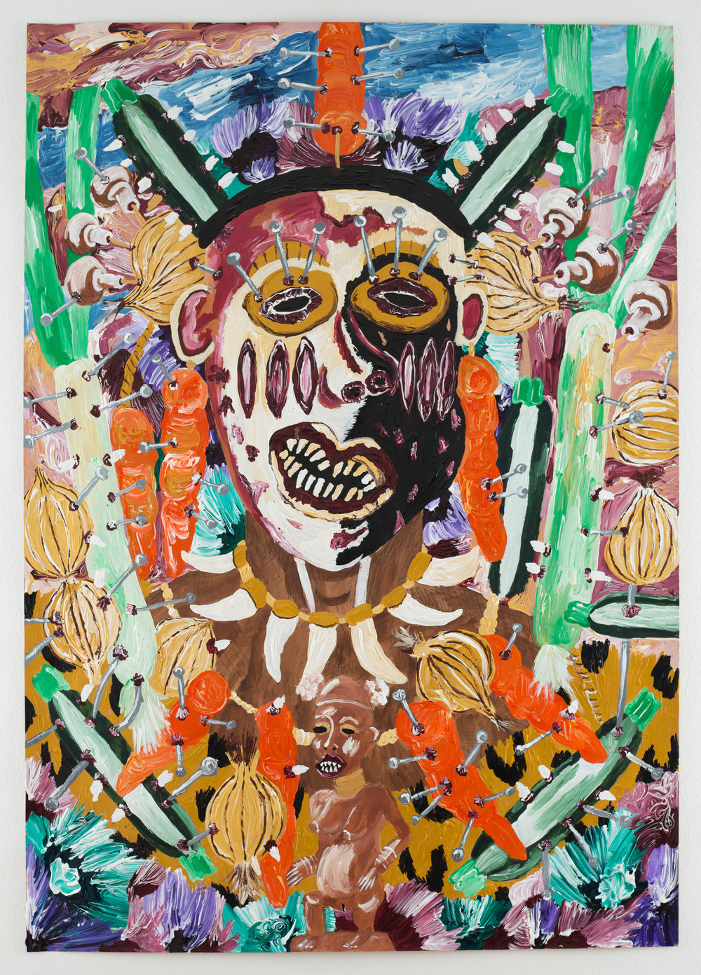 Andrew Gilbert: 'Zulu King Chetswayo in Vegetable Ritual Costume', 2018, acrylic, watercolours and fineliner on paper, 100 x 70 cm