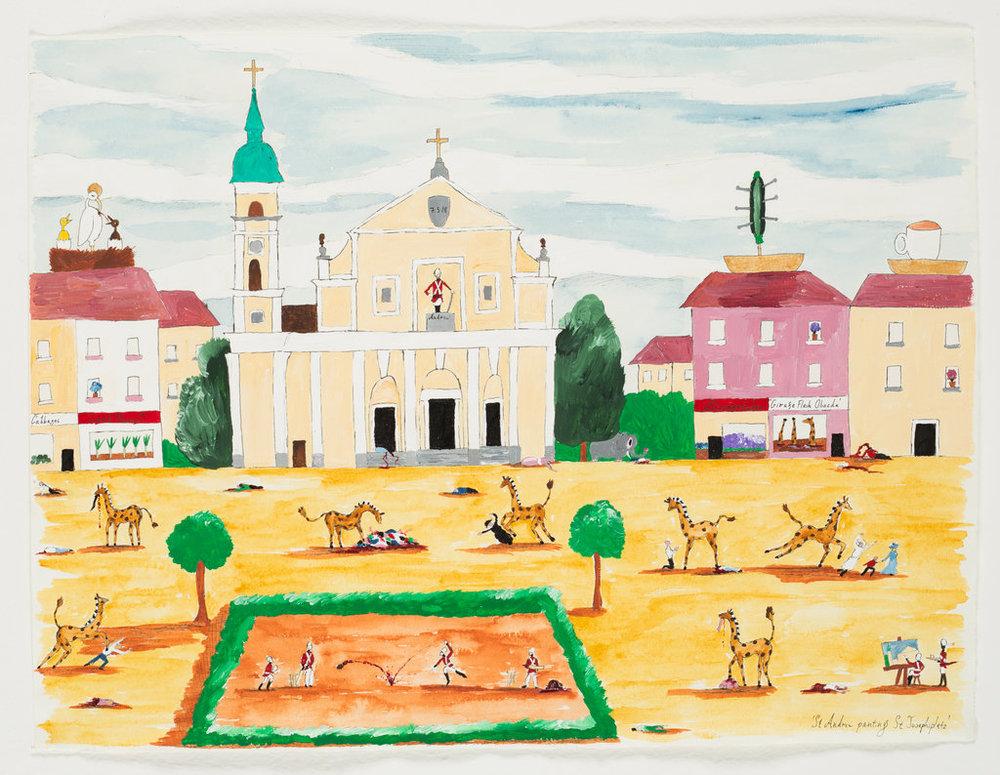 Andrew Gilbert: 'St. Andrew painting St. Josephsplatz', 2018, acrylic, watercolours and fineliner on paper, 30 x 40 cm