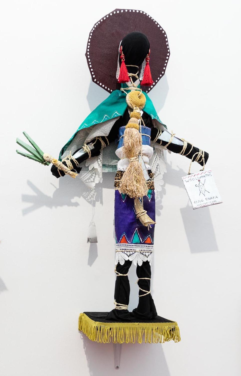 Andrew Gilbert: 'Zulu Sangoma Doll - with Leek Phone', 2018, mixed media, 80 x 50 x 20 cm