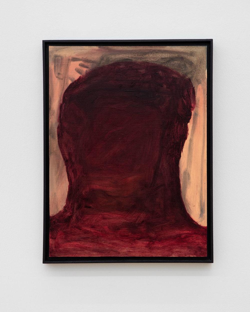 Veronika Hilger: Untitled, 2019, oil on paper on MDF in artists frame, 39,6 x 29,6 cm
