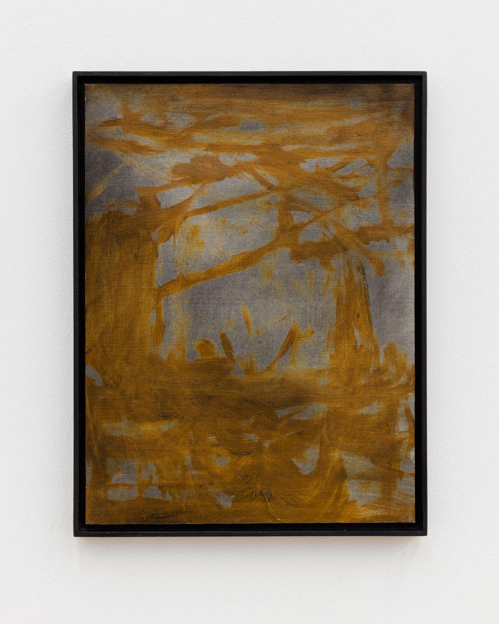 Veronika Hilger: Untitled, 2018, oil on paper on MDF in artists frame, 39,8 x 29,7 cm