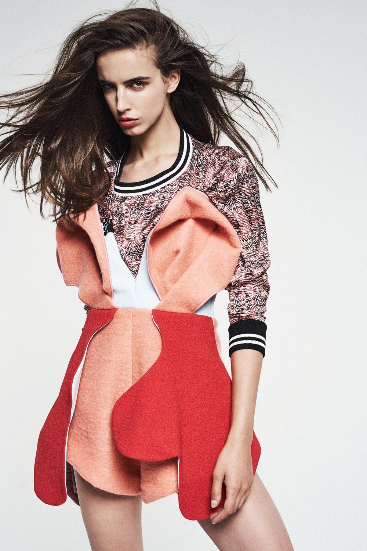 Marija from First Models, shot by Silvia Dee, MUA Dan Delgado, styled by Ayisha Ayishaa, wearing Yemzi Red Silk Sports Trim Jumper and Orel brodt dress
