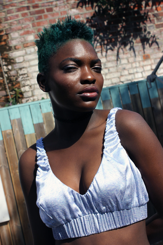 Yemzi 'Spbra' bralette tops are a key item each season. Brenda wearing SS16 silk bralette.