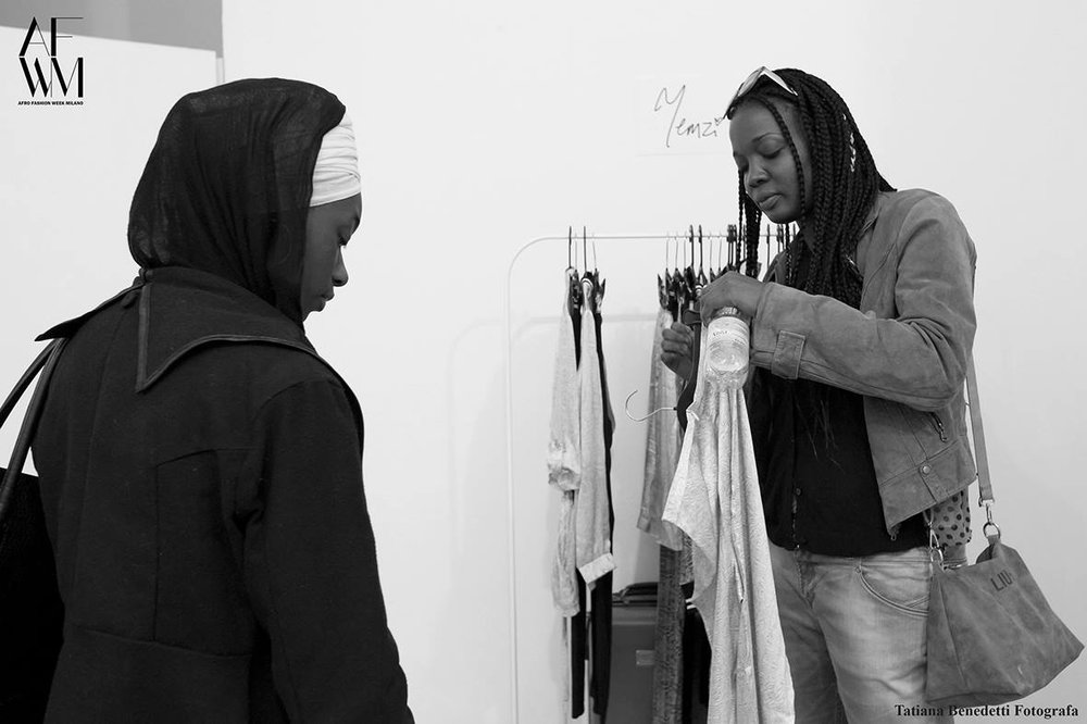 Yemzi's first Milano customer pictured right, now a proud owner of SS17 Long Split Kimono and Wrapper
