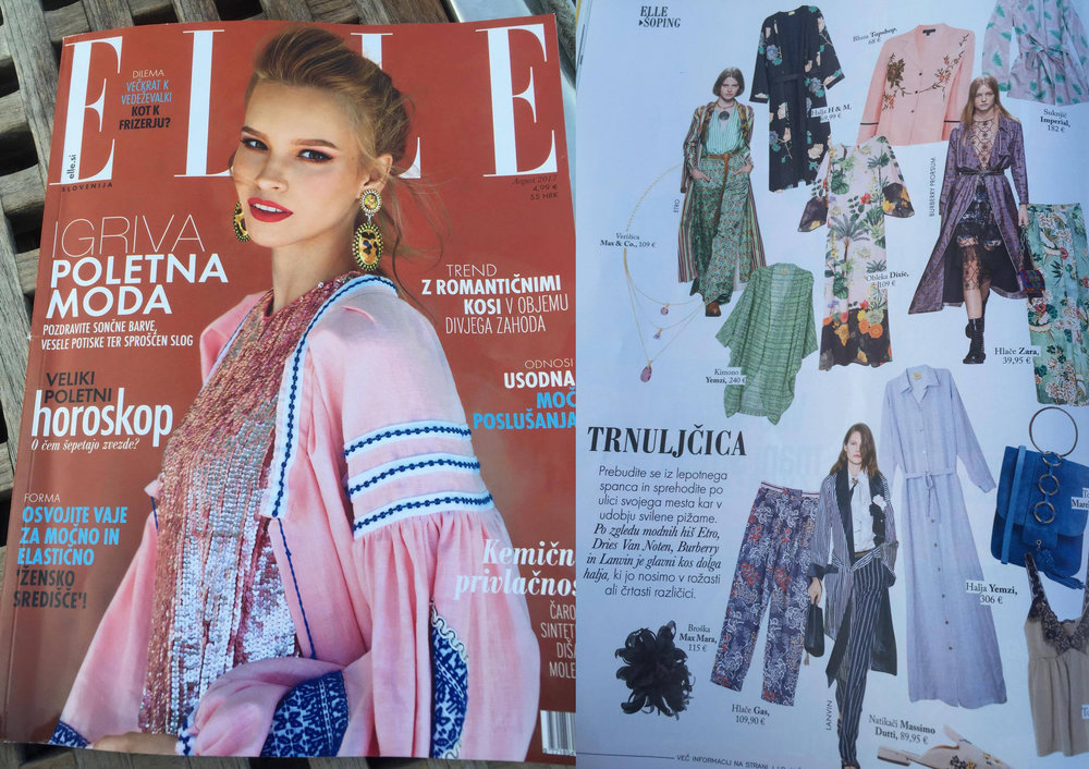 Yemzi Silk Shirtdress and Classic Kimono feature in Elle Slovenia, August 2017