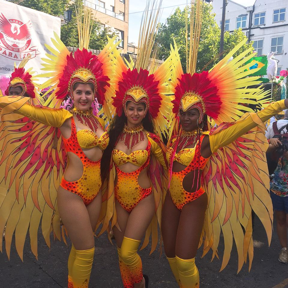 Rhona and and carnival friends at Notting Hill, August 2017