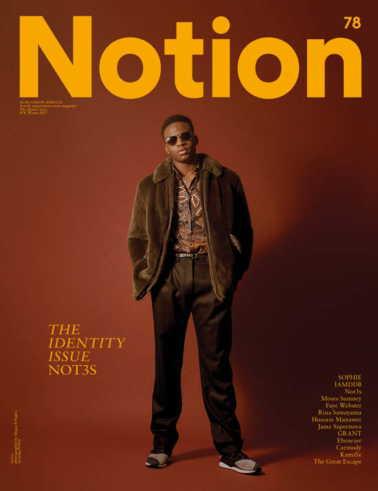 Music artist Not3s styled by Rhona for Notion magazne