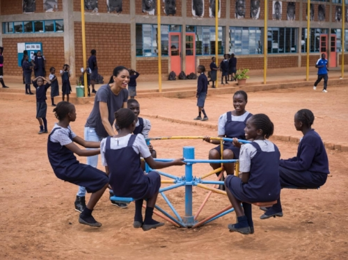Playing with the students at Malaika in Lubumbash, DRC. Image by Nisian Hughes