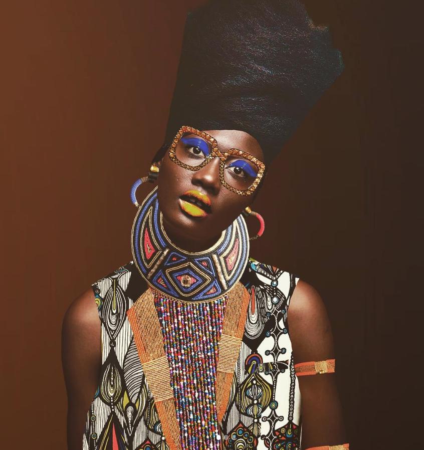 An art piece designed by Caroline, featuring Nigerian fashion model Uju Marshall