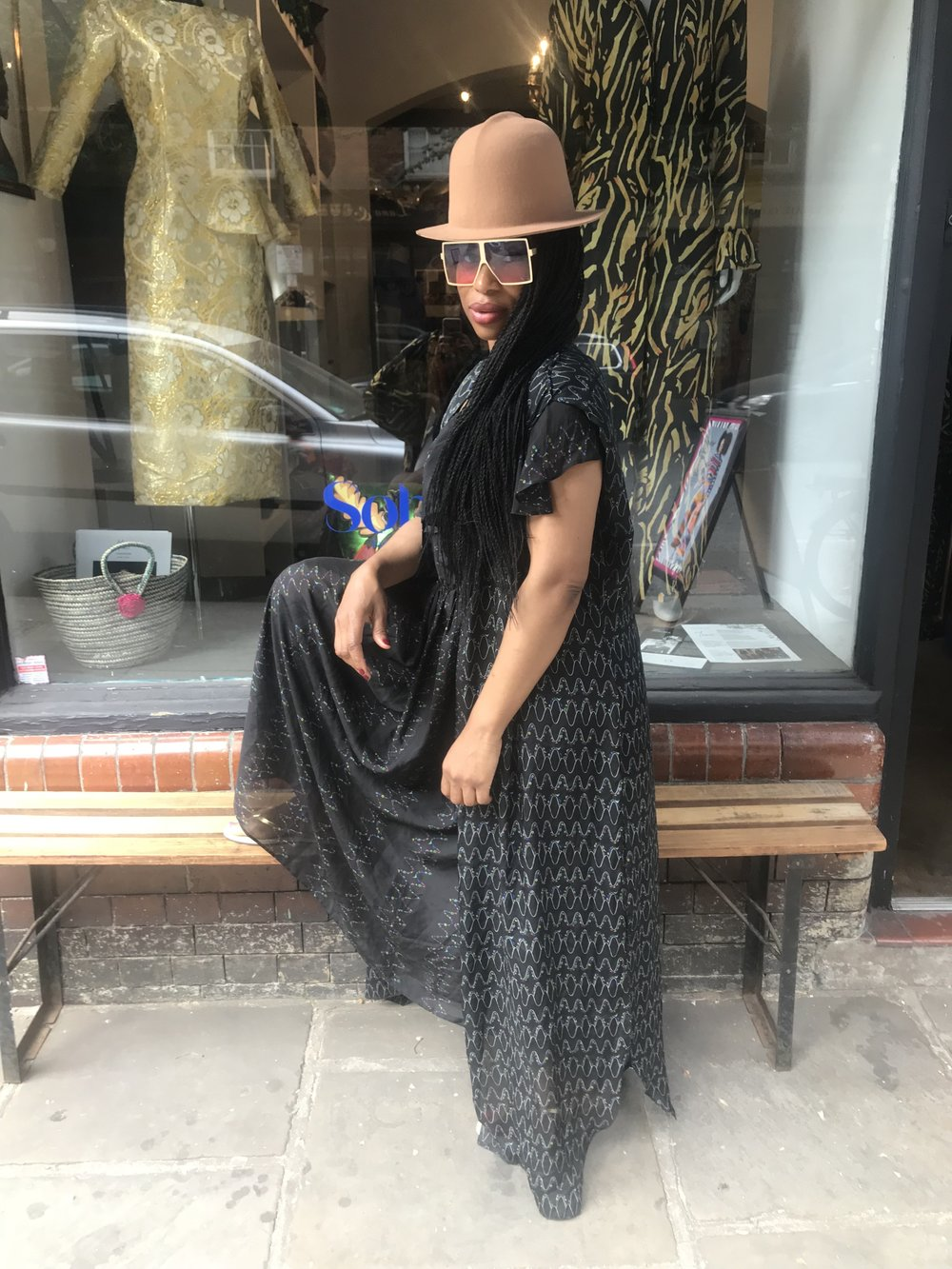 Chi rocking her Yemzi collection 2 silks outside of  Soboye