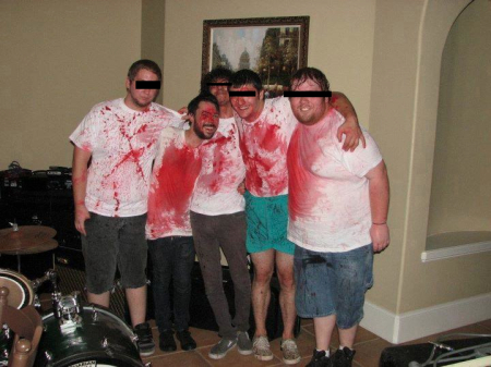 "From 2012, when a group of friends and I dressed ourselves as ""men covered in corn syrup"" and played a house show."