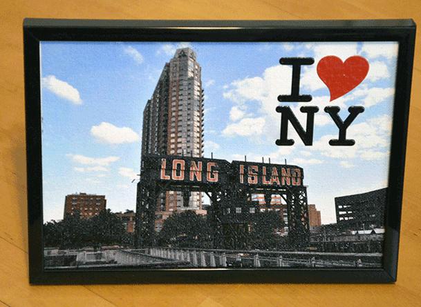 Long Island City Pier - Canvas 5X7 inch, framed, 3D text I Love NY - Order     here