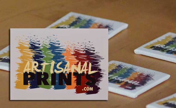 "Business cards printed on 2"" X 2"" canvas"