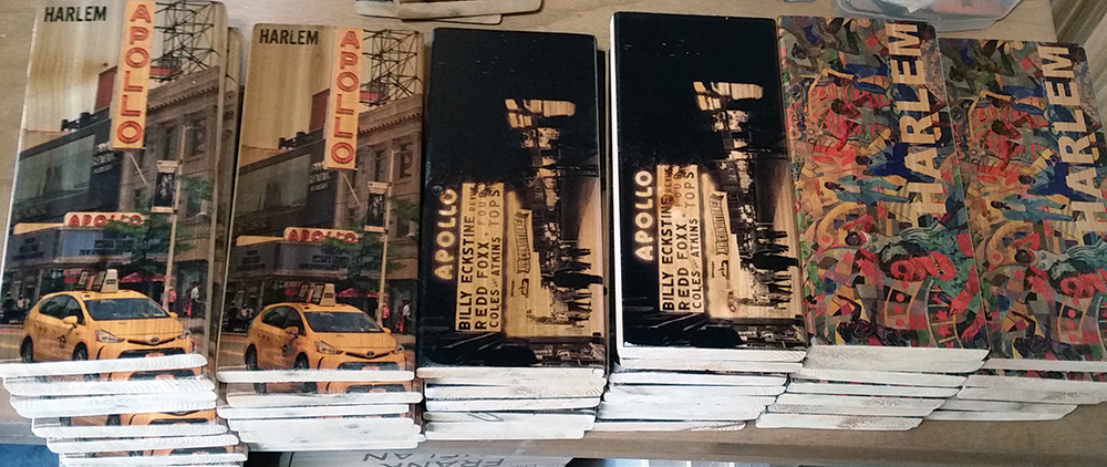 Special cedar woobrick printed with Harlem iconic photos of today's Apollo Theater, a black and white historical image of the theater and a colorful scenic street art.