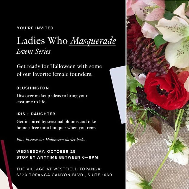I'll be over at @renttherunway in Topanga along with @blushington handing out adorably spooky mini bouquets tonight.  Come say hi! 6pm-8pm . . . #floralarrangement #flowerseveryday #renttherunway #blushington #irisanddaughter #popup #event #flowers #halloween #comeseeme #laflorist #imaflorist