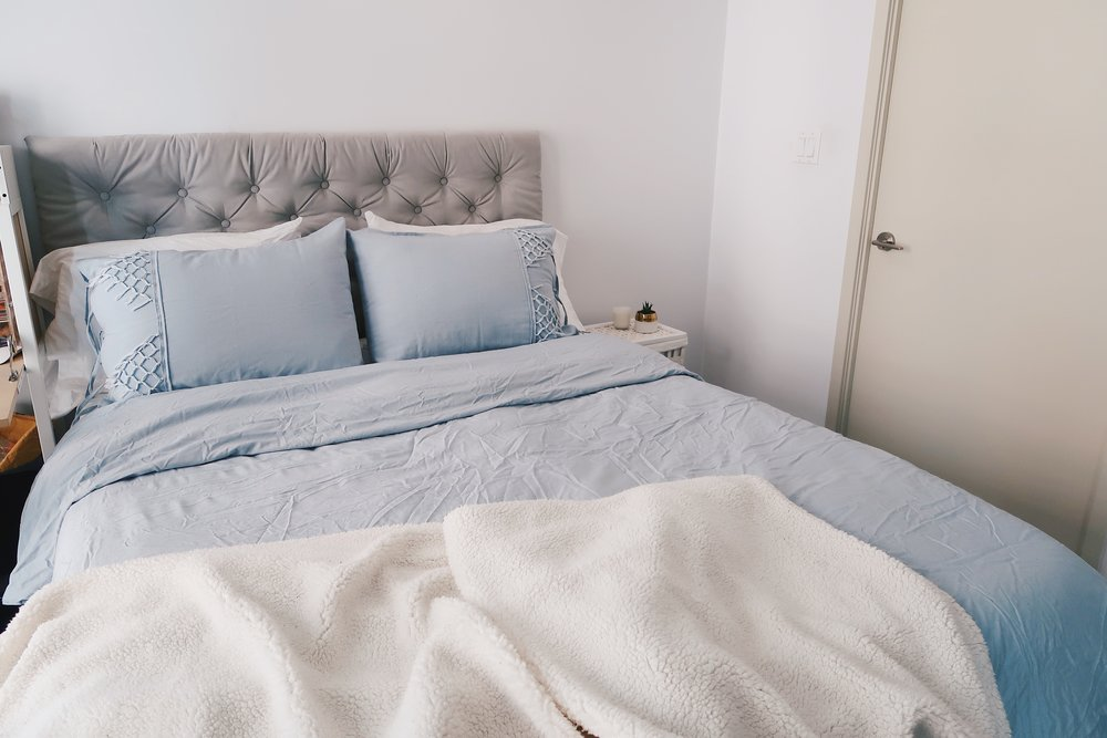 Dan And I Made Our Own Tufted Headboard! Itu0027s Been Such A Rich Addition To  Our Bedroom And Provides A Visual Anchor For The Bed. Aside From All The  Times We ...