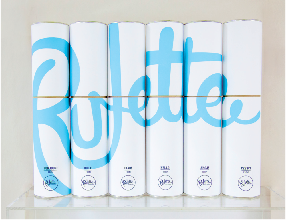 Poster Shipping Tubes   Tubes reflect the signature Rulette blue, also seen in the design of the posters. When collected in order, they spell out the name of the foundry.