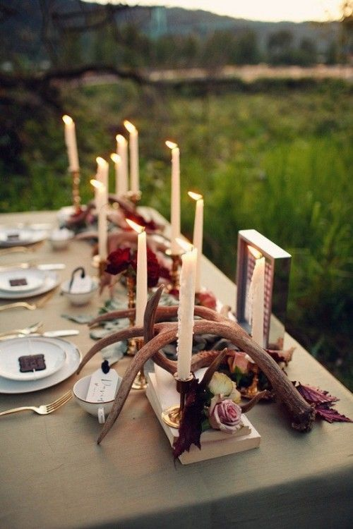 Beige Linen, Candles, Branches, Rose Tops, Leaves (weddingomania.com)