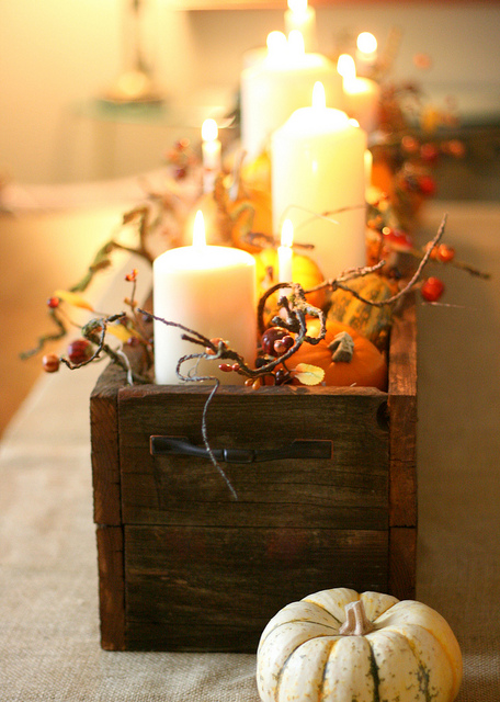 Burlap Runner, Wooden Box, Candles, Mini Pumpkins (beehiveevents.com)