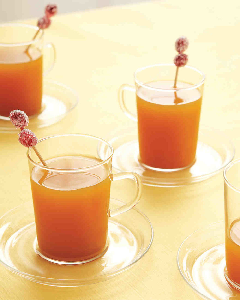 Hot Apple Cider with Sugared Cranberries - Add a dash of the hard stuff, and hot apple cider turns into a cocktail with a kick.