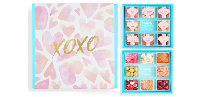 "For your sweetheart... Sugarfina's limited edition ""XOXO"" box allows you to pick your favorite Sugarfina goodies to customize the perfect candy bento box."