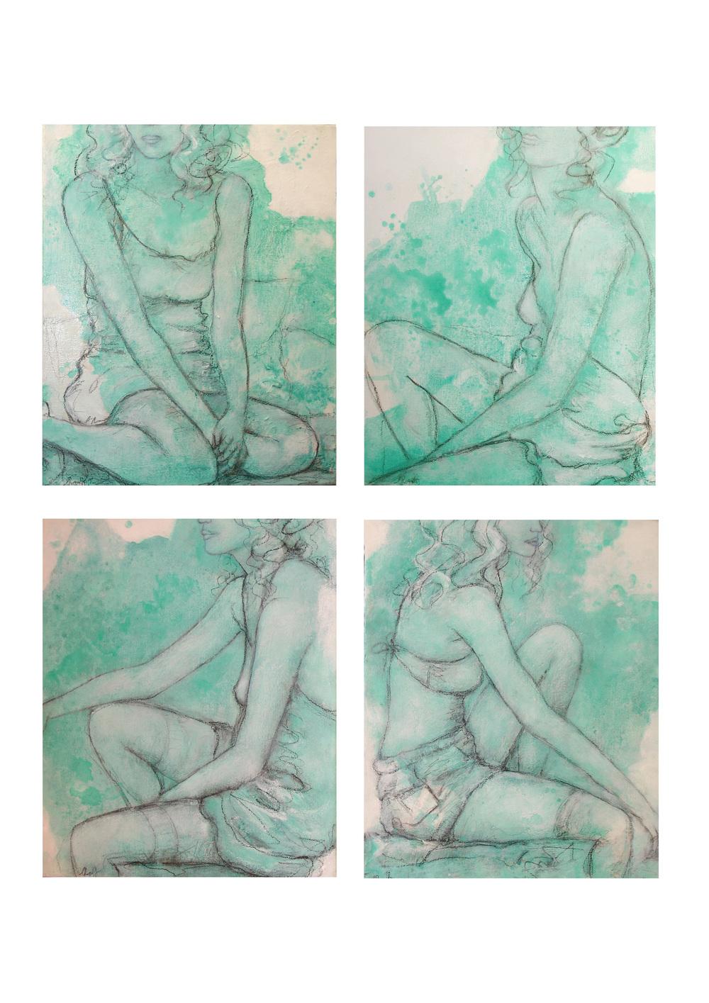 Damsels in Undress, 28 x 34cm