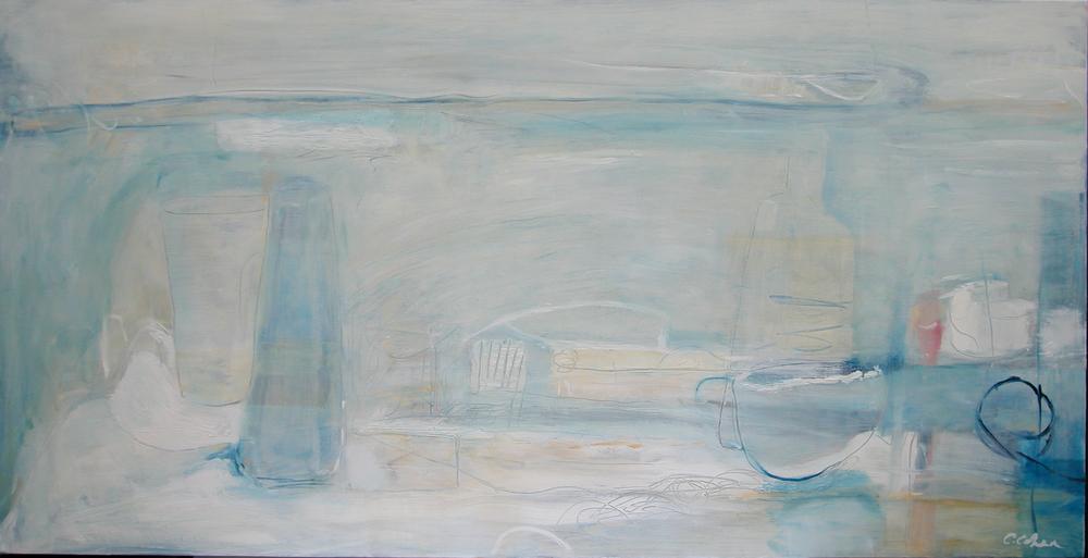 Blue Bottles, 50 x 92cm