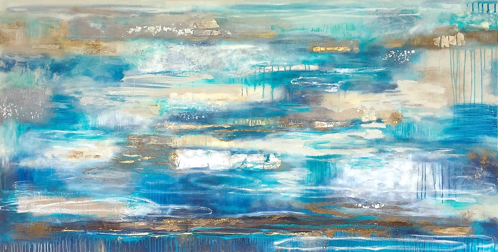 Atoll Waters, 198 x 102cm