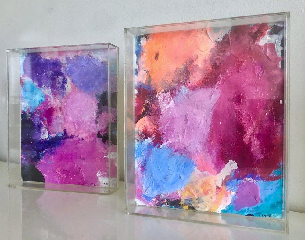 Purple & Pink Pop in Perspex frame, 21 x 26cm each