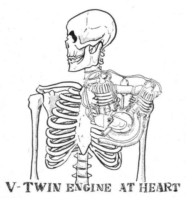 The first idea that came into my mind. My friend suggested to put the engine in between the skeleton's ribs to make it feel more like a heart.