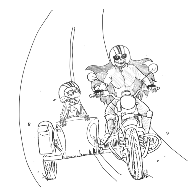 In this design, I want to emphasize the fun adventure a motorcycle can bring.