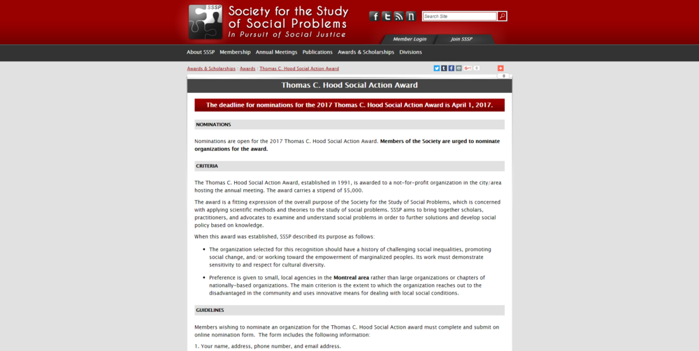 Society for the Study of Social Problems   Social Action Award   Open.png