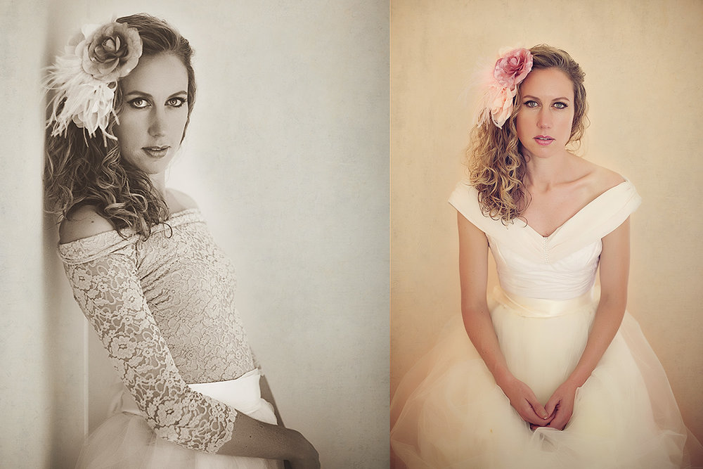 Feminine styled Beauty portrait with lace, tulle, flowers.
