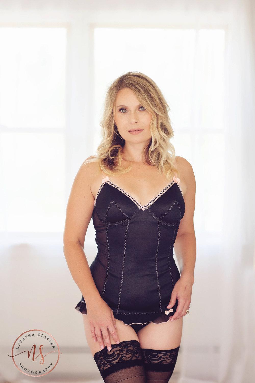 Boudoir Portraits | Woman Standing wearing black lingerie | Boudoir Behind the Scenes Info | Buffalo NY Boudoir Photographer | Natasha Staszak Photography