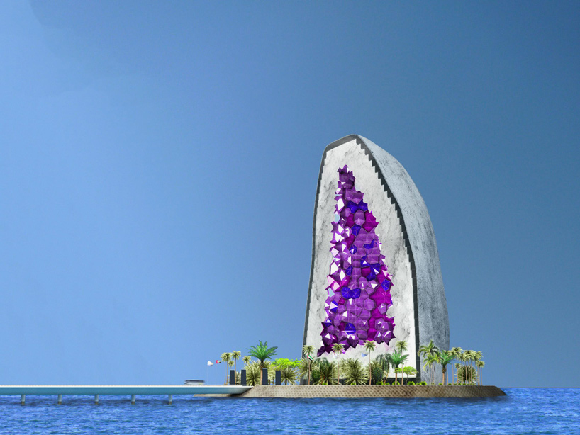 The first hotel is proposed for a manmade island known as Ocean Flower, which is under development in the sea north of Hainan, southern China. The vision is to eventually build more around the world, each with slightly different shapes.