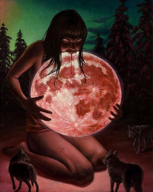 "Artwork by Casey Weldon, ""Blood Moon"""
