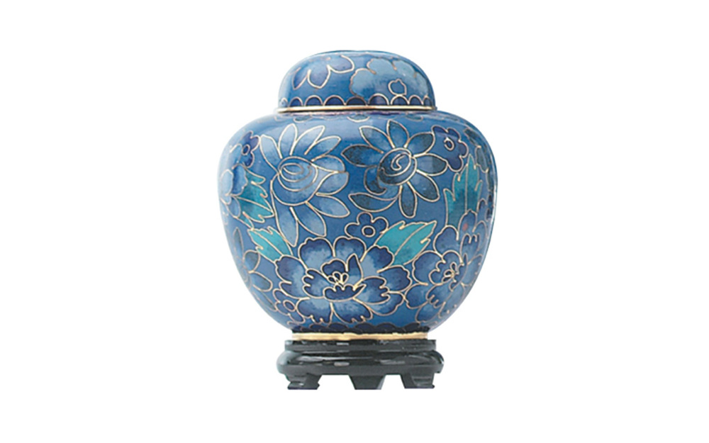 "Blue Cloisonne Keepsake Made of Brass, this urn's outer shell is composed of intricate metal wiring filled with painted enamel.  It measures 2 ¾"" Dia. x 3 ½"" H, Black Base 2 ¼"" Dia. x 1"" H, 2.5 Cu. inches, up to 2 lbs, $68"