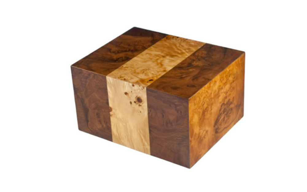 "Labarde     The natural beauty of the Southwestern French woodlands is apparent in this urn. The maple burl with walnut side inlays creates a multi textured look that will remind you of the inherent beauty of Mother Nature. This urn is available in small and large sizes only.     Small:  29 Cu. inches / up to 24 lbs. / 3.7"" x 3.7"" x 4.5""  $115    Large:  235 Cu. inches / up to 230 lbs. / 9.1"" x 7.4"" x 5.2""  $225"