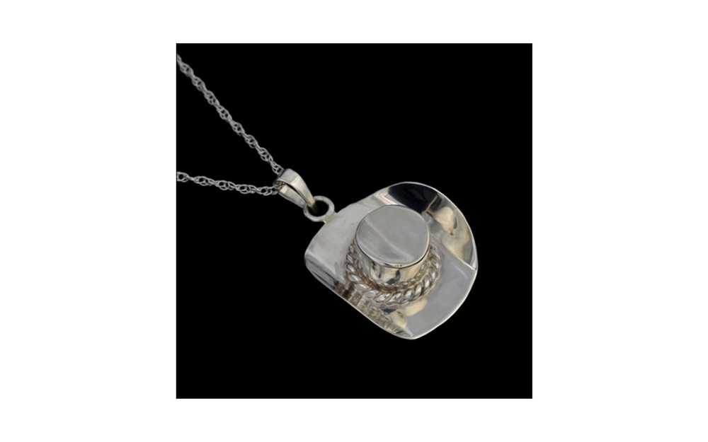 "Cowboy Hat   Sterling Silver pendant, with Removable Top, comes with 18"" Sterling Silver chain, 0.2 Cu. inches,  $160"