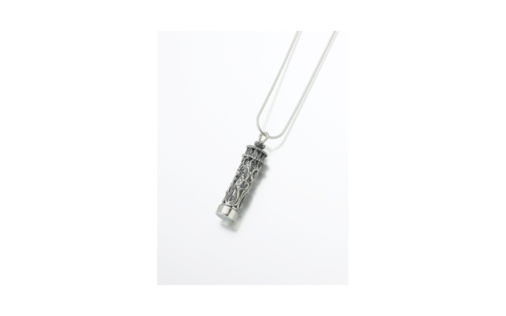 "Sterling Silver Antique Cylinder Pendant w/ Glass Insert      Measures 1/2""W x 1-7/8"" H, Chain not included,  $170"
