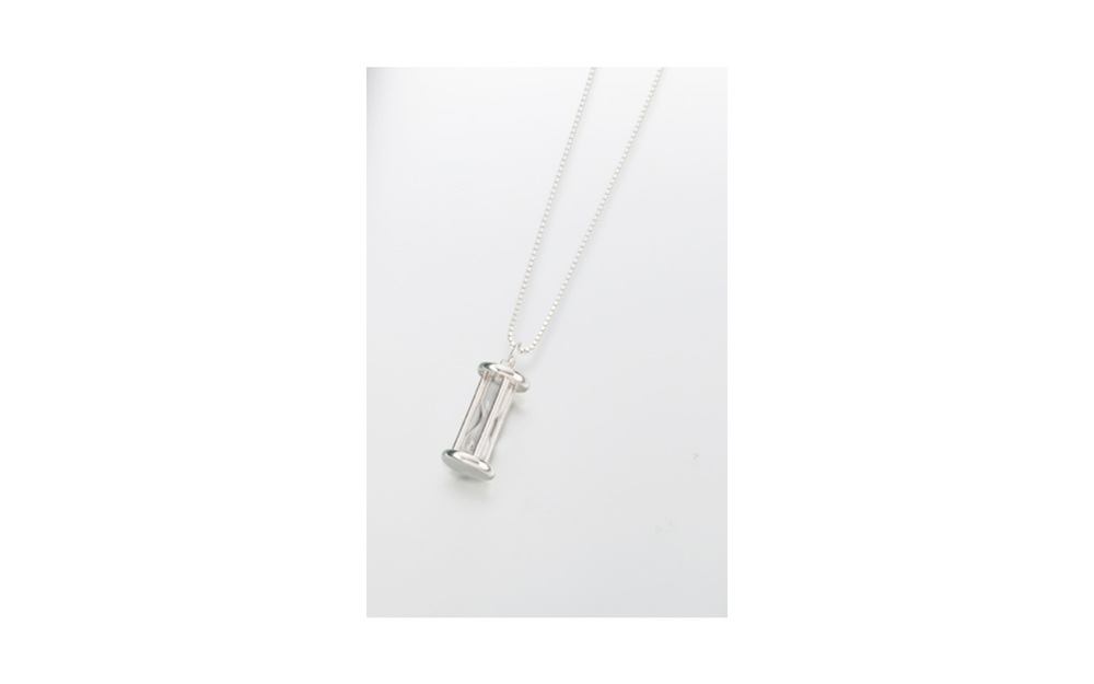"Sterling Silver ""Our"" Glass Pendant Measures 1/2""W x 15/16""H, Chain not included, $260"