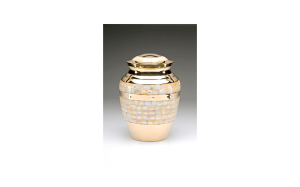 "Mother of Pearl Golden Brass    This Golden Brass urn comes with a Beautiful Mother of Pearl Inlay, Threaded Lid, and a Felt-Lined Base. This urn comes in XLarge, Large, Medium, Small, and Keepsake (see keepsakes) sizes.     XLarge:    Measures 7"" D x 9.5"" H, 220 Cu. inches, up to 215 lbs.,  $160    Large:   Measures 5.5"" D x 8.5"" H, 110 Cu. Inches, up to 105 lbs.,   $125    Medium:    Measures 7.25"" H, 70 Cu. Inches, up to 65 lbs.,  $85    Small:    Measures 5"" H, 40 Cu. Inches, up to 35 lbs.,  $72"