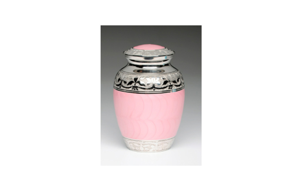 "Baby Pink   & Baby Blue   This urn comes in either Baby Pink (shown) or Baby Blue Enamel over Nickel Plated Brass. It has a Threaded Lid and a Felt-lined base. Comes in Medium, Small, XSmall, and Keepsake (see keepsakes) sizes.   Medium:  Measures 7.5"" H, 70 Cu. Inches, up to 65 lbs.,  $78    Small:   5.5"" H, 30 Cu. Inches, up to 25 lbs.,  $60    XSmall:   4.25"" H, 15 Cu. Inches, up to 10 lbs,  $50"